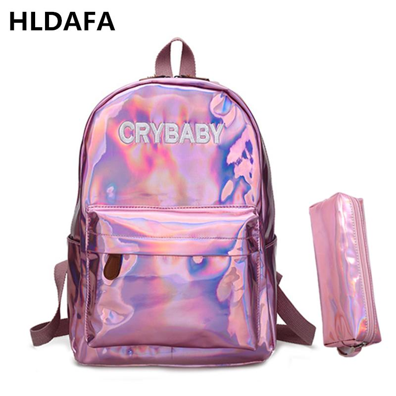 6e8318c30a 2018 New Women Hologram Backpack Laser Daypacks Girl School Bag Female  Silver Pu Leather Holographic Bags Mochila Send A Packet Y18110201  Personalized ...