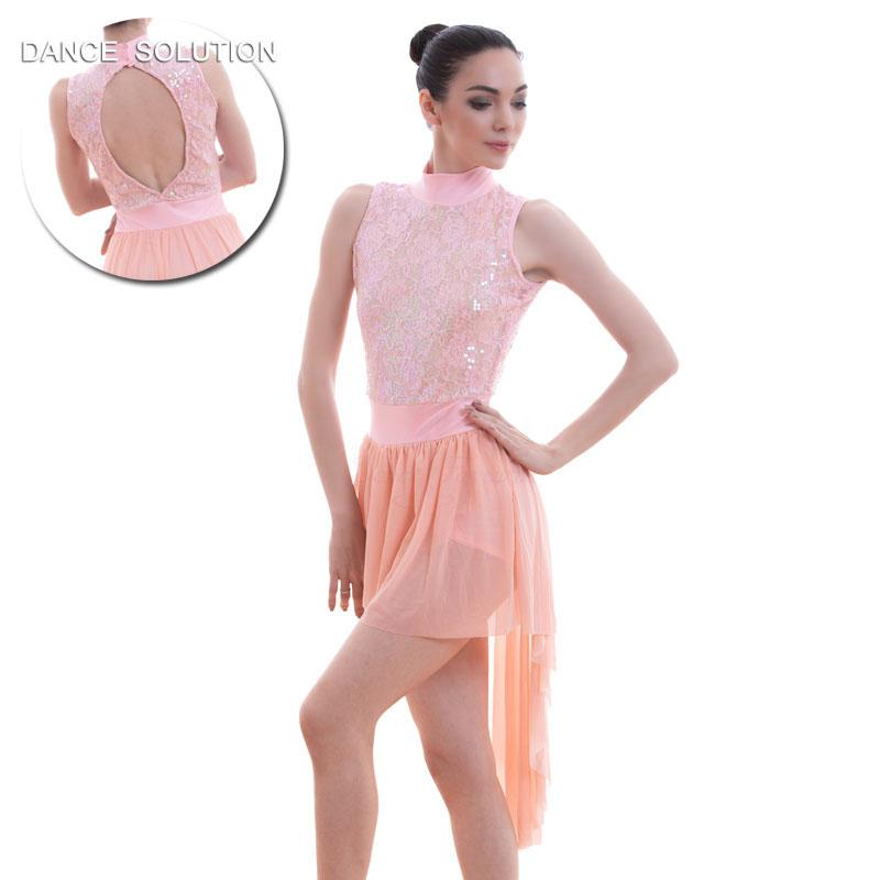 885e0025f651e 2019 Peach Pink Sequin Lace Ballet Dance Dress For Girls Lyrical And Contemporary  Dance Costume 16027 From Sikaku, $79.03 | DHgate.Com