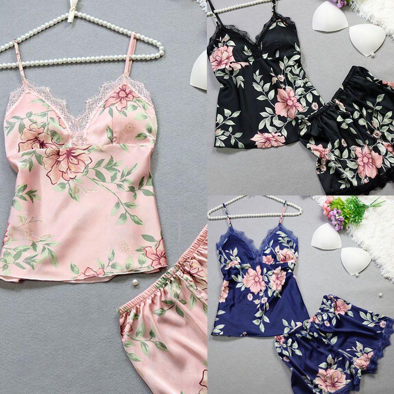 5e1c2d6d2 Compre Mulheres De Seda De Cetim Rendas Camis + Shorts Pijamas Set Babydoll  Camisola Pijama PJS Conjuntos Camisola Shorts Conjuntos De Newcute