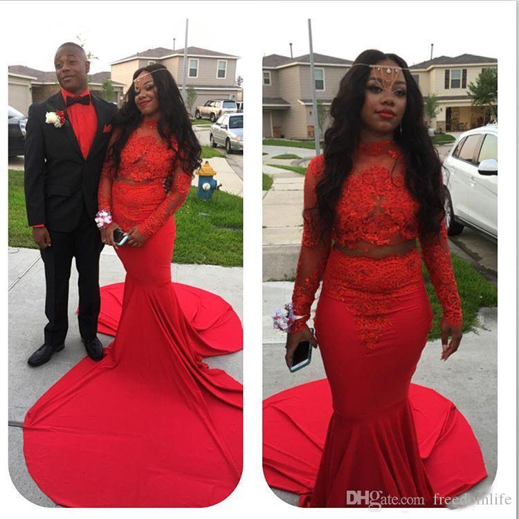 c3590f6fcde Sexy Two Piece Red Black Girl Prom Dresses Long Lace African Mermaid Formal  Party Gowns Long Sleeves Women Dress Evening Wear Cheap Red Prom Dresses  Cheap ...