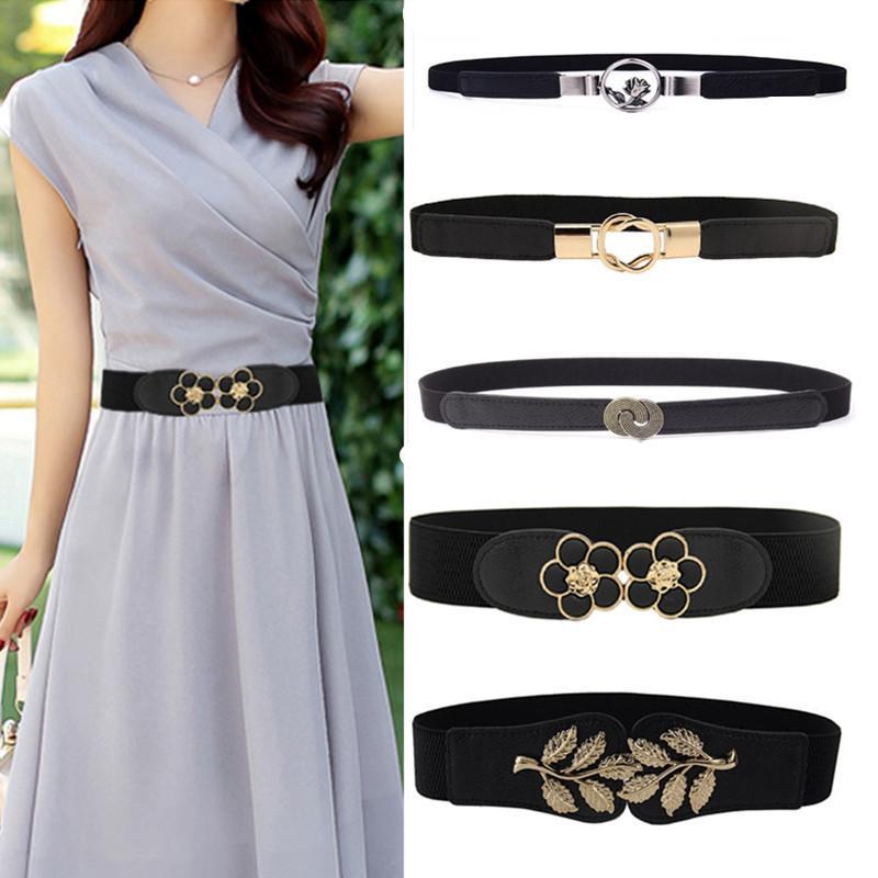 9aecf383cce1 Women Elastic Belt HOT Black Waistband Wide Elegant Gold Buckle Cummerbunds  For Women Dress Cinto Wedding Cummerbunds Coat Lady Dip Belt Brown Belt  From ...