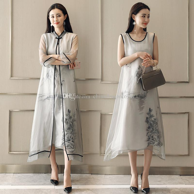 2035611fa889 2019 Women Summer Vintage Dress Ancient Pattern Elegant Long Gown Ink  Painting Chinese Style Retro Dress Party Feminino Vestidos From  Chinadragontown