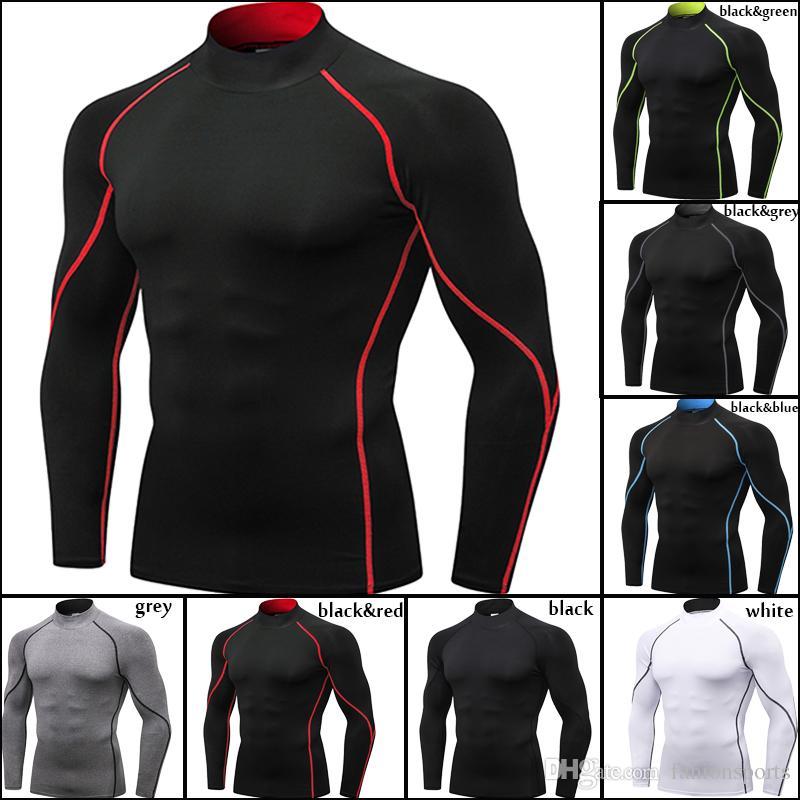 e368154c82 Compre Aptidão De Manga Longa Camisa Corrida Dry Fit Sportswear Men Treino  Jersey Men Esporte Camiseta Compressão Apertada Ginásio Camisa De  Fahionsports