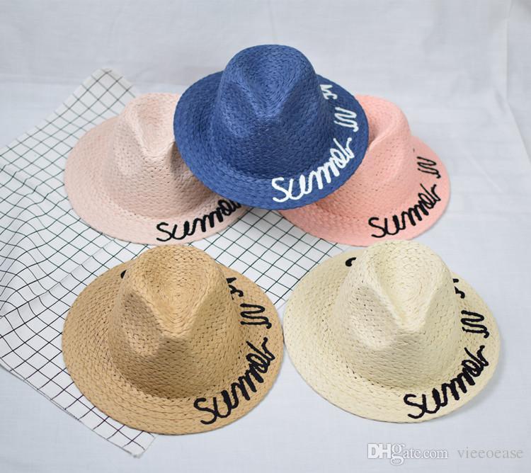 2019 Vieeoease Girls Boys Straw Hat Embroidery Kids Accessories 2018 Summer  Fashion Korean Beach Cap Kids Hats EE 330 From Vieeoease d45879f81721