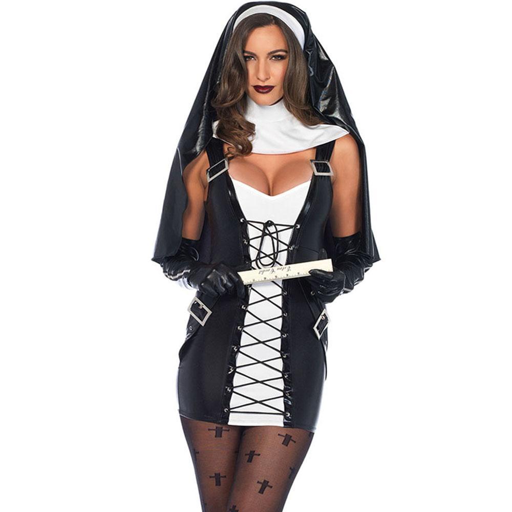 7d3902db4 Disfraz de monja sexy Mujeres árabes adultas Vestido de cosplay de monje  católico sexy con capucha negra para la fiesta de disfraces de halloween ...