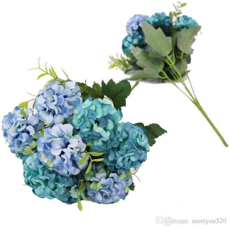 2 Hagebutten 10 Kopfe Kunstliche Blumen Seide Hortensie Blumenstrauss Hochzeit Home Decor Blau