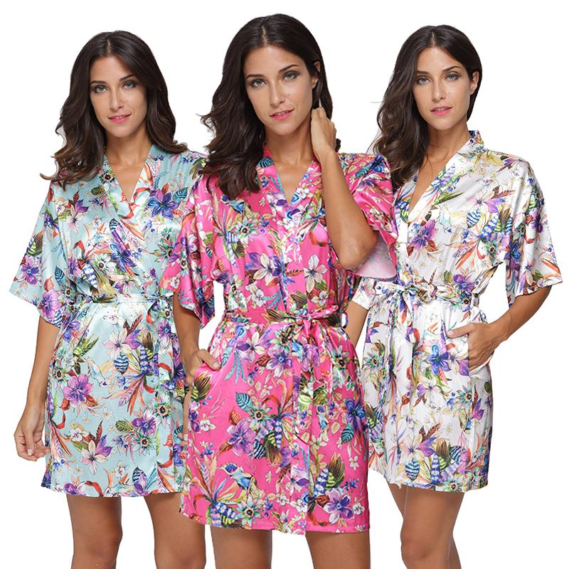 5dd366dfc8 2019 Plus Size Short Sleeve Froal Kimono Robe Sexy Women Silk Nightgown  Sleepwear Lingerie Woman Satin Party Wedding Bridesmaid Robes From Zhusa,  ...