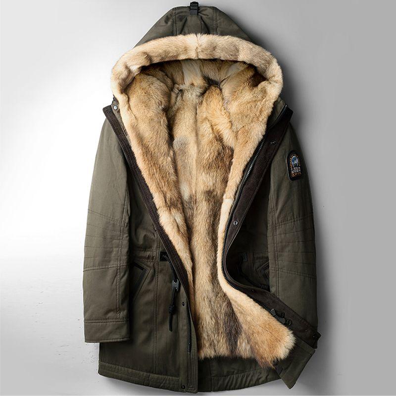 Wolf Fur Coat >> Wolf Fur Coat Men Winter Warm Fur Coats Hooded Long Style Jacket
