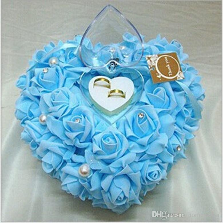 Coeur Forme Blanc Cristaux Perle Nuptiale Anneau Oreiller Organza Satin Dentelle Porteur Fleur Rose Oreillers Nuptiales De Mariage Fournitures