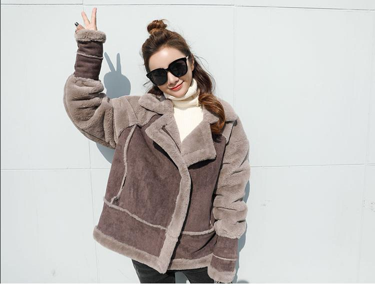 bef1616ee67eb 2019 Women Faux Fur Jacket Suede Leather Zipper Motorbiker Coat Winter  Bomber Warm Thick Outwear Causual Fur Lining Boho Gothic From Piaocloth