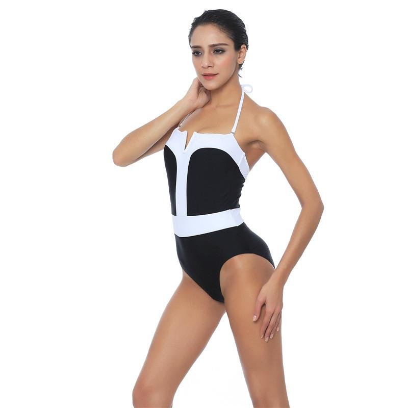 8019f49278 2019 Swimwear Women 2017 New High Legs Monokini Patchwork Sexy One Piece  Swim Wear For Ladies Halter Bathing Suits Plus Size Swimsuit From Hiem
