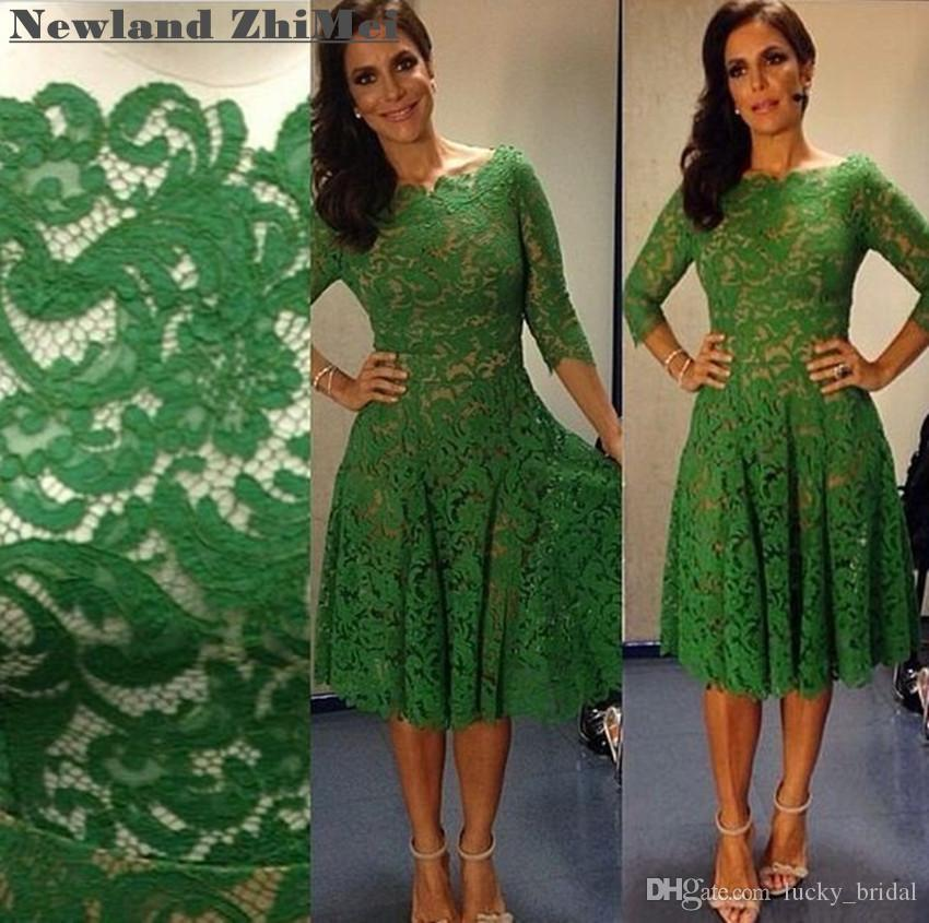 Robe de cocktail verte au genou Robe de soirée élégante à trois quarts Femme
