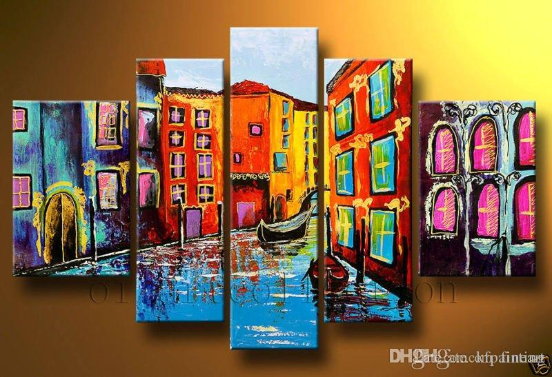 Handmade Abstract 5 Piece Painting Wall Painting Bright Colors Scenery Painting Acrylic Paint For Canvas Art Deco Paintings Sale Decoration