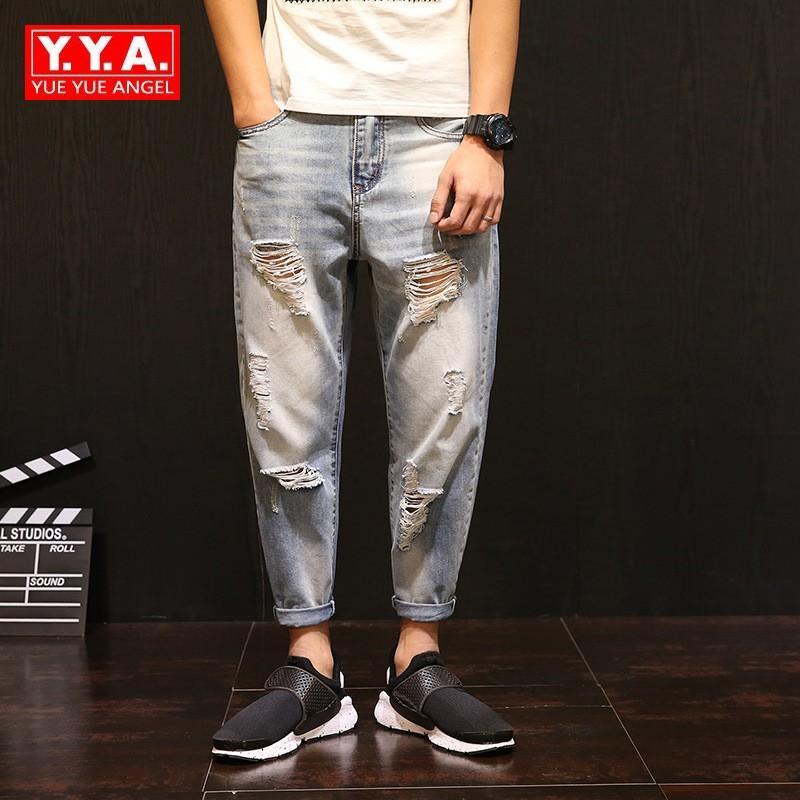 Vintage Ripped Jeans for Men Denim Knee Hole Zipper Biker Mens Harem ... 43b60bba2eb9
