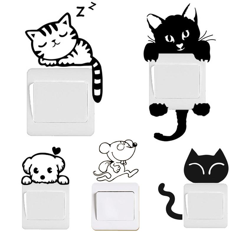 switch decal wall stickers diy funny cute black cat dog rat mouse