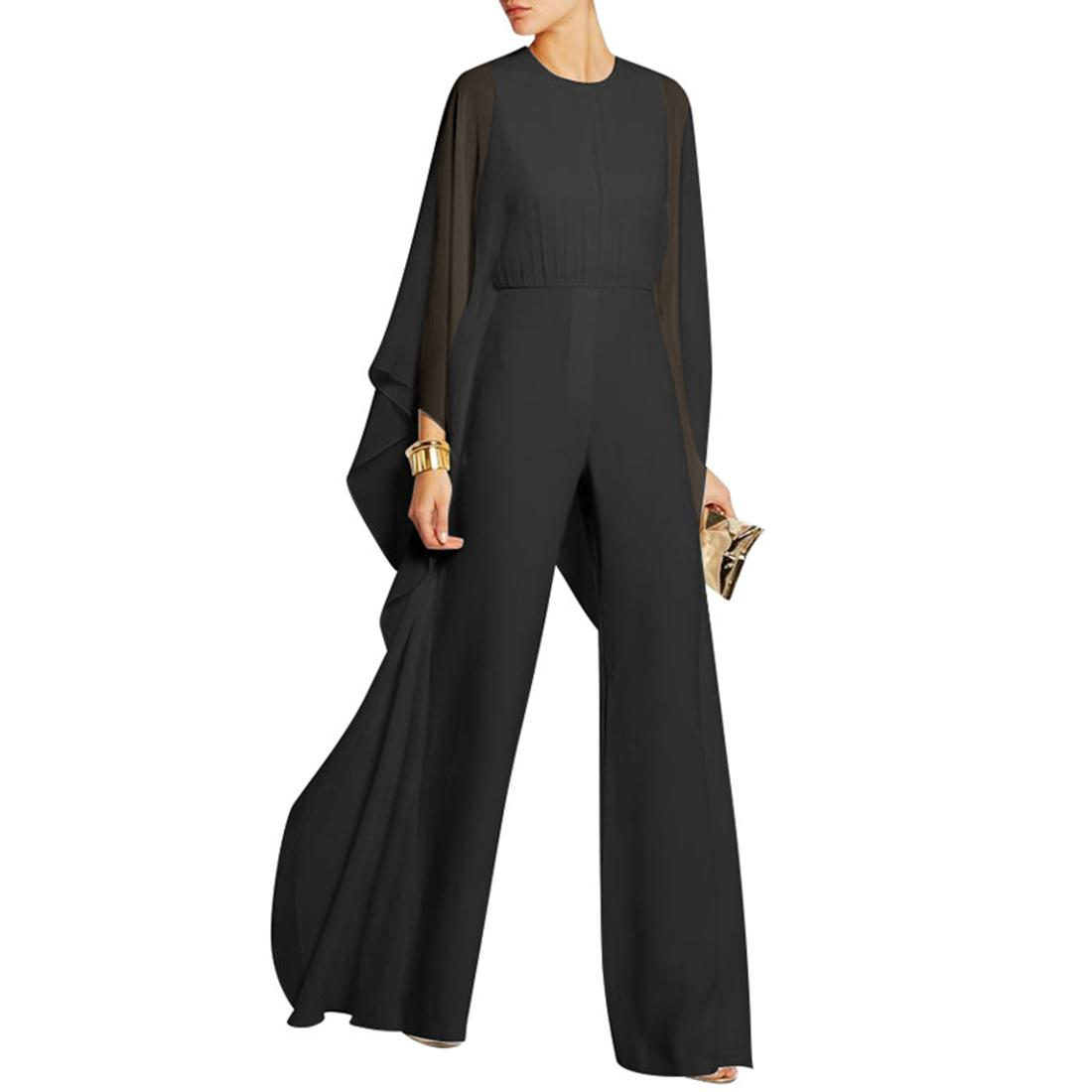 Ruffle Poncho Jumpsuit Rompers Women Elegant Chiffon Party Jumpsuit Autumn High Waist Bodysuit Women Casual Cape Overalls