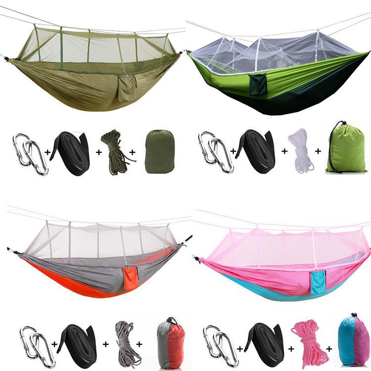 es 260*140 cm hamaca portátil con mosquitera hamaca colgante cama doblada en la bolsa para viajes T2I301