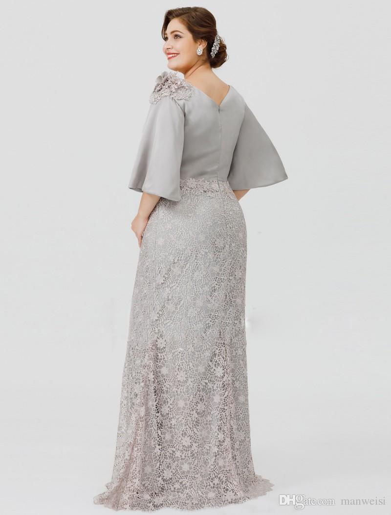 2019 Nueva Plata Elegante Madre de la novia Vestidos Media manga de encaje Sirena Boda Vestido de huésped Más tamaño Vestidos de noche formales