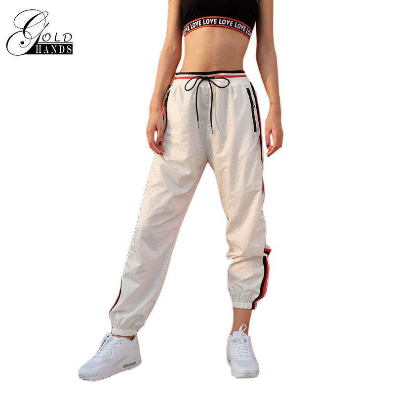 85bbb2b3 2019 Gold Hands Female Sweat Track Pants Women Waist Tie Stripes Loose  Fitness Harem Pants Sweatpants Track Cuff Gogger From Vikey13, $35.31 |  DHgate.Com