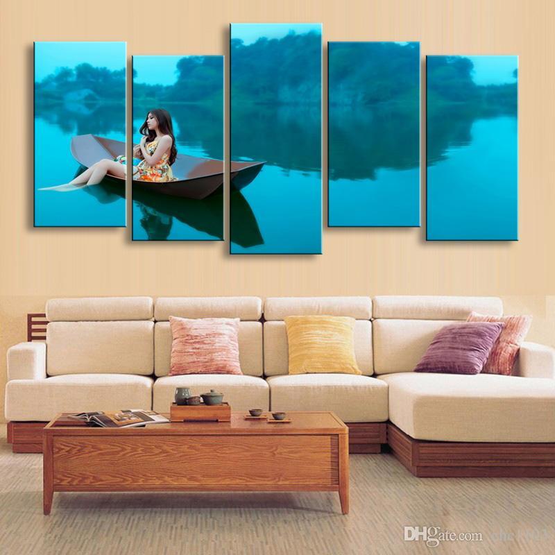 5 peças de impressão de alta definição mulher na ilha de cópias da lona pintura cartaz e wall art sala de estar imagem HaiD-001