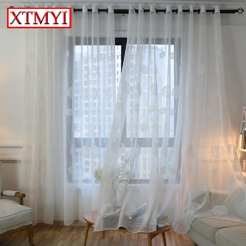 2019 Korean White Embroidered Voile Curtains For Bedroom Window ...