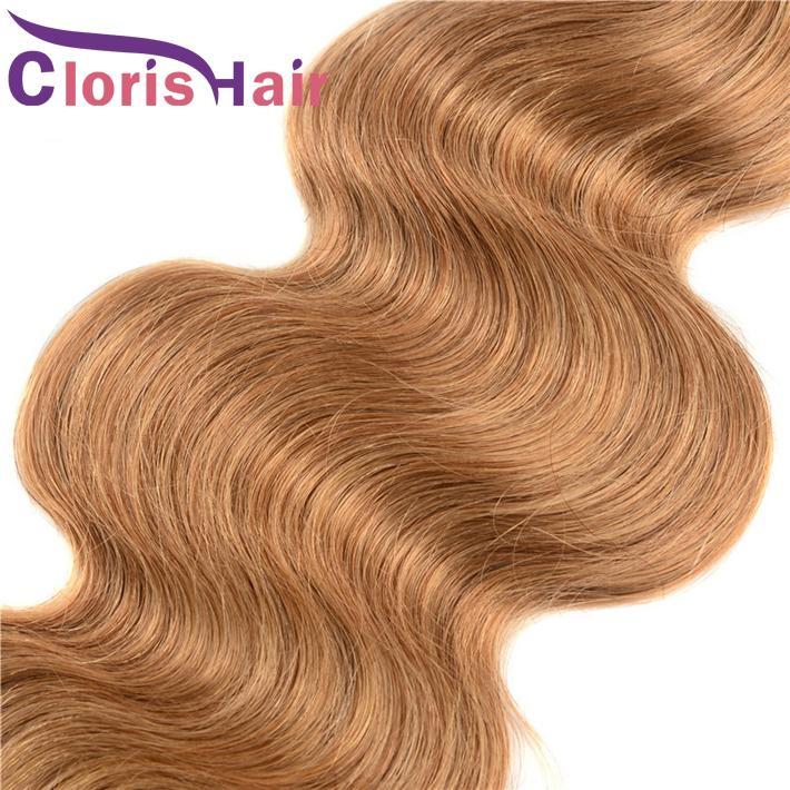 Vierge Indienne Brute Tisse Miel Blond Cheveux Humains 3 Faisceaux Avec Fermeture # 27 Fraise Blonde Vagues De Corps Extensions De Cheveux 4x4 Fermeture Top En Dentelle