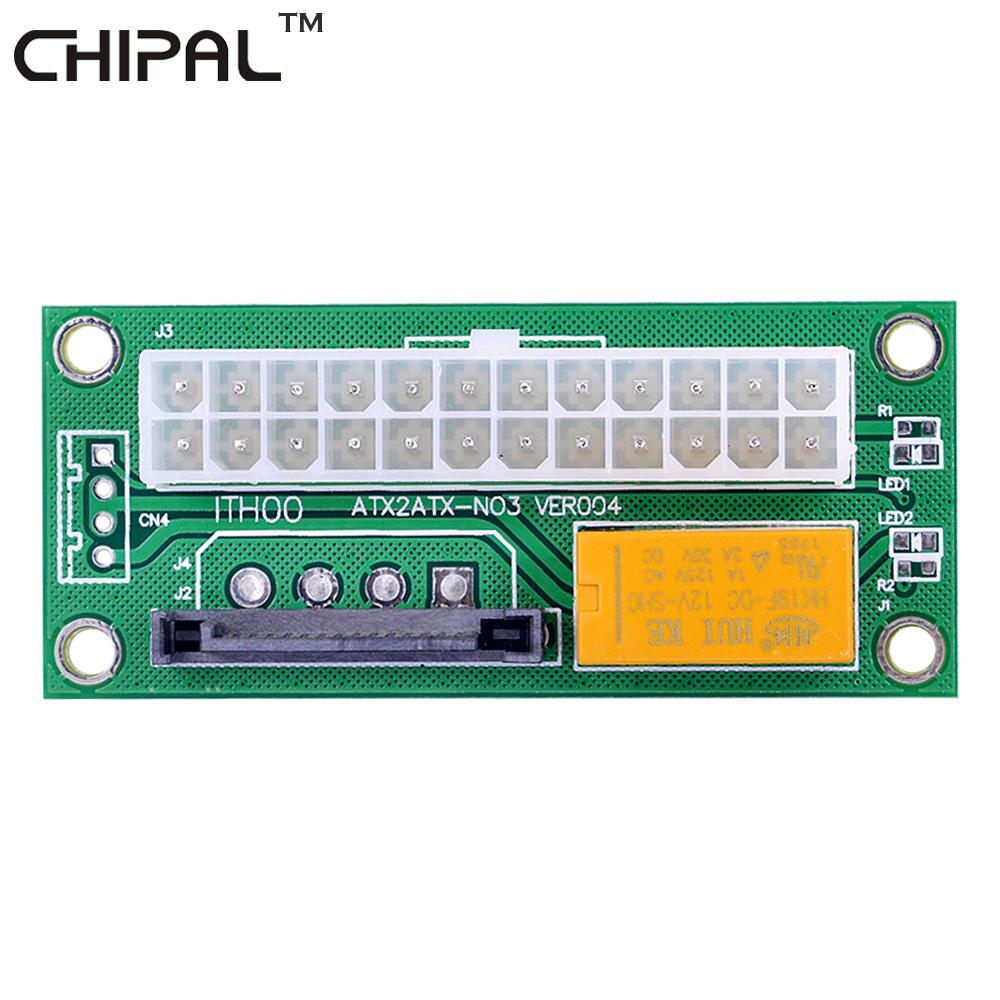 CHIPAL PC Desktop ATX 24Pin to 15Pin SATA Dual PSU Molex Power Supply Sync  Starter Extender Cable Card For BTC LTC Mining