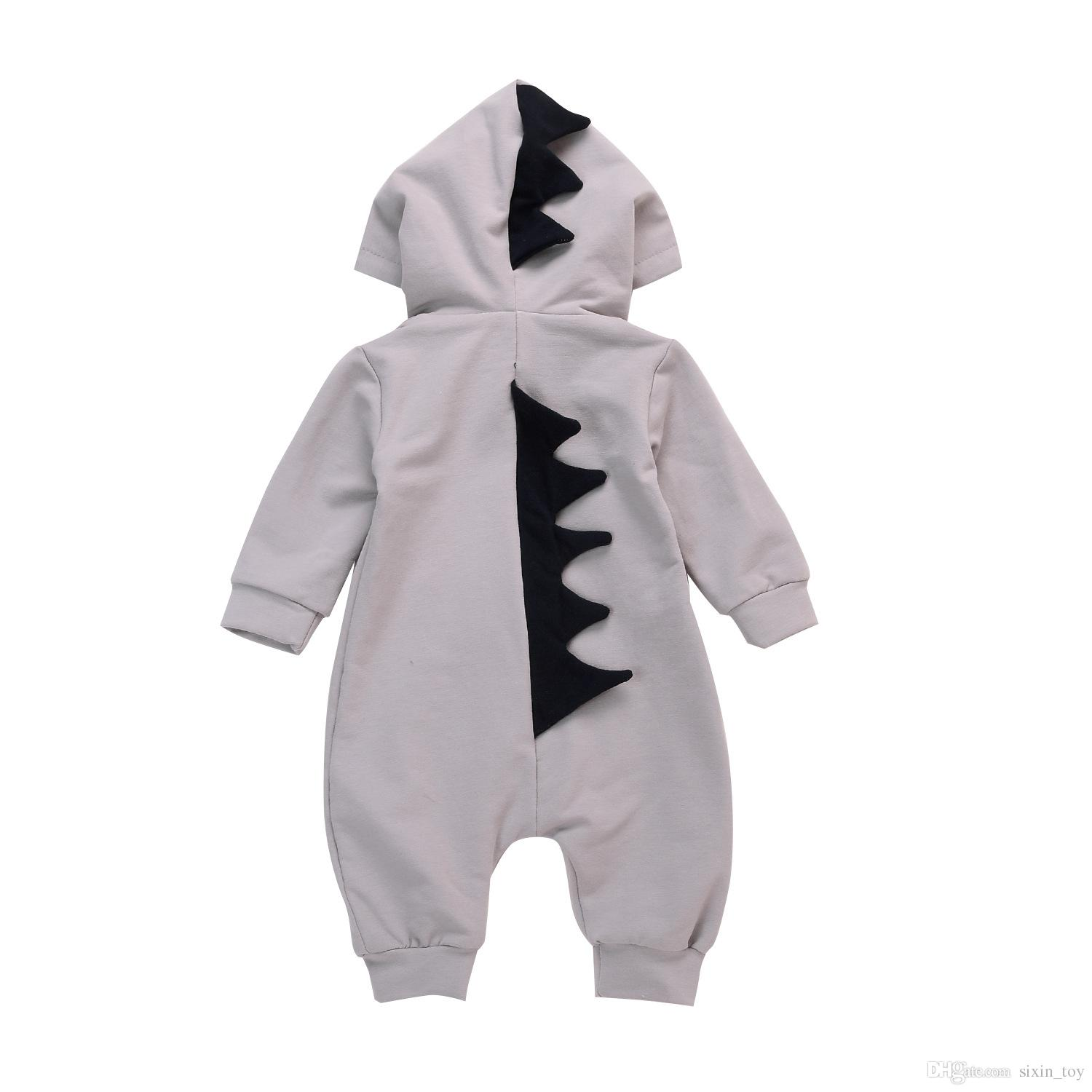 Baby Dinosaur Rompers Ins Baby Outfits Manga larga Boy Girl Outwear con capucha Jumpsuits Mamelucos Bebé Ropa infantil Romper Playsuit