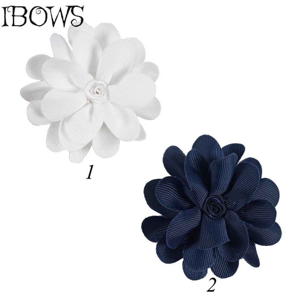 Retail 3 Inch Navy White Color Small Flower Ribbon Hair Bow Sticked