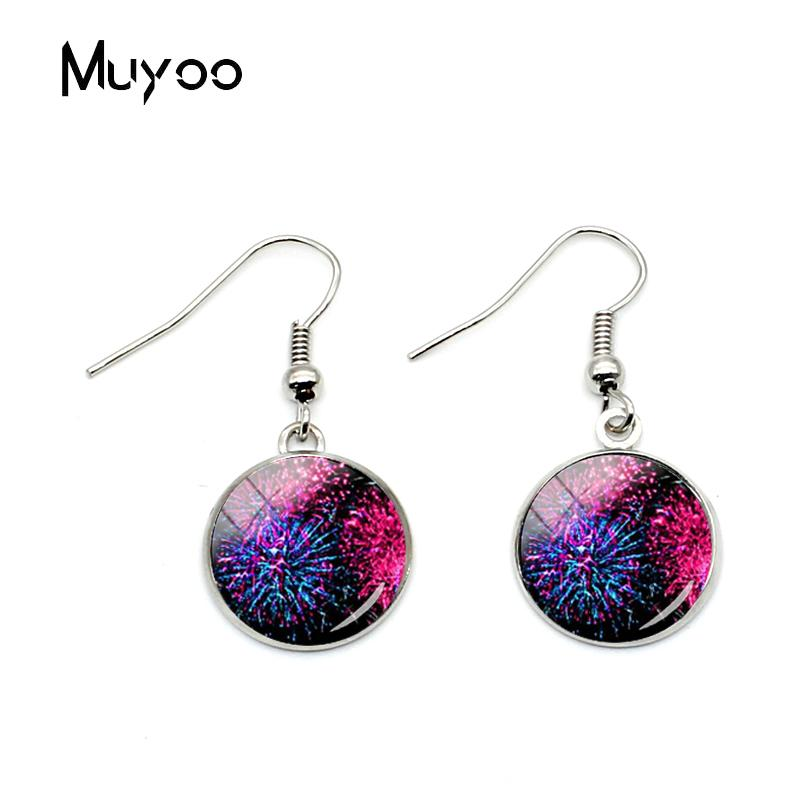 2019 2018 New Design Beauty Colorful Fireworks Hook Earring Glass