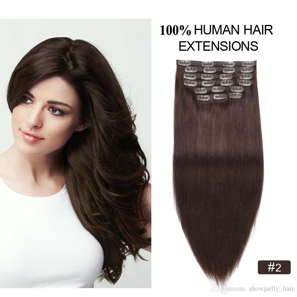 Peruvian Clip On Hair Extensions Human Hair Dark Brown Clip In