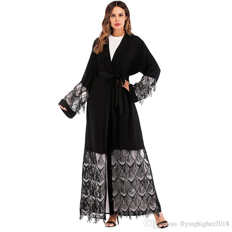 2018 Black Nida Abaya Arabic Mesh Sequined Muslim Hijab Dress Abayas