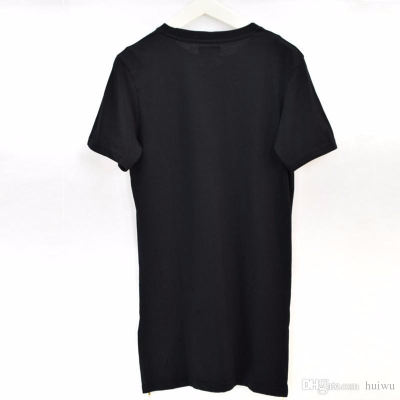 أزياء رجالية طويلة تي شيرت الرجال السود قمم عارضة القمصان ذكر س الرقبة الهيب هوب ملابس قصيرة الأكمام والقمصان