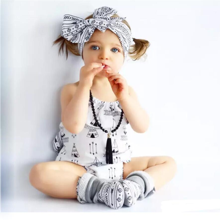 8e4243e3899c 2019 Girls Romper Arrow Tent Backless Sleeveless Lace Up Hairband Triangle  Pants Baby Girls Jumpsuit Cotton Breathable Cool Clothing 0 18M From  Tiangeltg