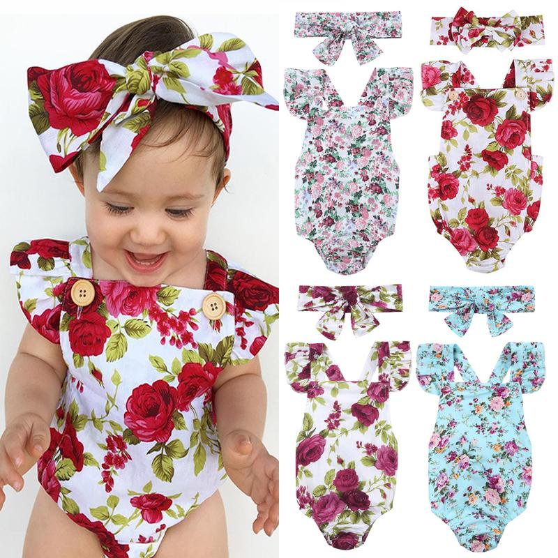 34bb538f2 2019 Set Newborn Infant Baby Girls Summer Floral Rompers+Headhand Baby  Girls Flower Jumpsuit Kids Clothes Outfits For 3 18M From Qwinner, $34.09 |  DHgate.