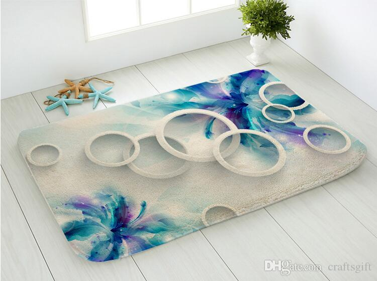 Fresh Flowers Art Circles Printing Toilet Bath Mat Super Soft Floor Mat Living Room Bedroom Bathroom Door Mat Anti Slip Rug Floor Carpet