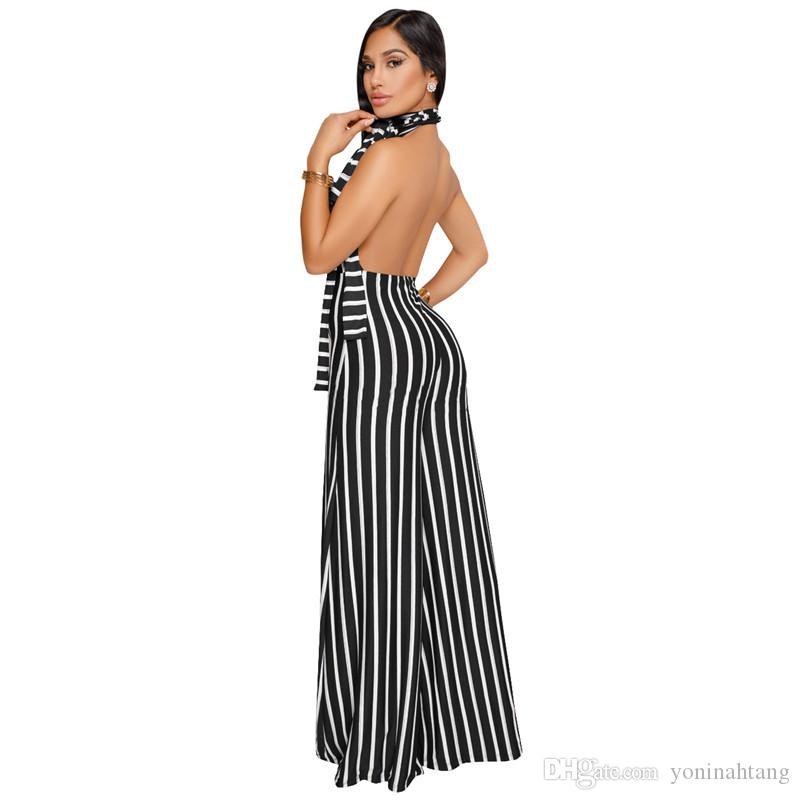Wholesale Sexy multi stripe women backless romper warp high waist summer jumpsuit playsuit halter wide leg overalls
