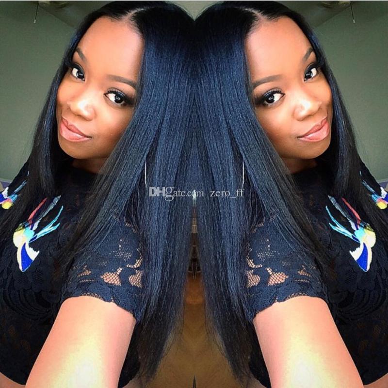 5 * 4.5 '' Tutkalsız Ipek Üst Tam Dantel Peruk Işık Yaki Brezilyalı Bakire saç Siyah Kadınlar Için Tam Dantel İnsan Saç Peruk Yaki Düz
