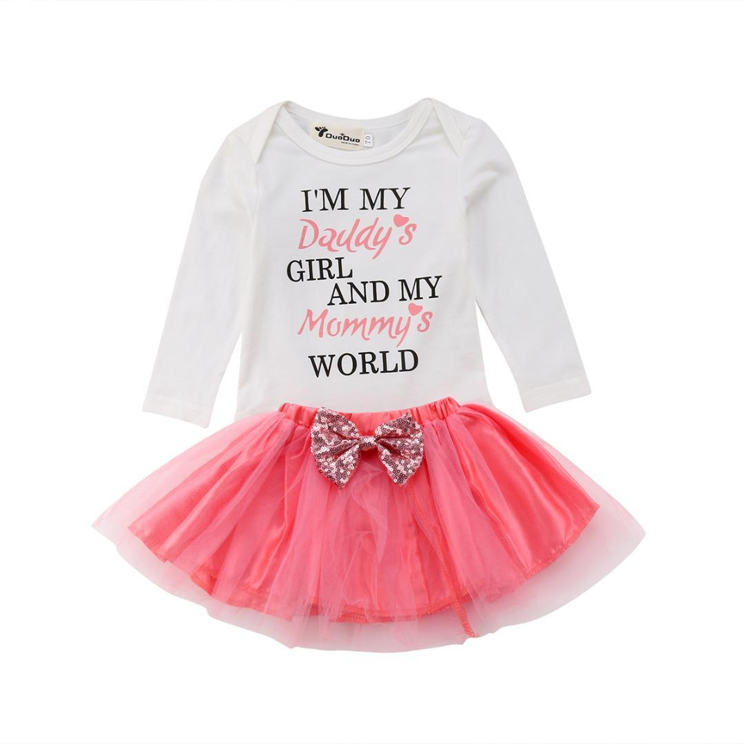 b2371540acbe 2019 Newborn Infant Baby Girls Long Sleeve Romper Tutu Dress Outfits  Pudcoco Baby Girl Letter Romper +Tulle Dress Clothing Set From Sophine13,  ...