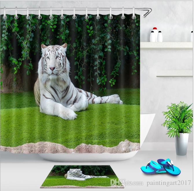 2019 White Tiger Print Shower Curtains Bath Products Bathroom Decor With Hooks Waterproof Curtain Mats Sets From Paintingart2017 1538