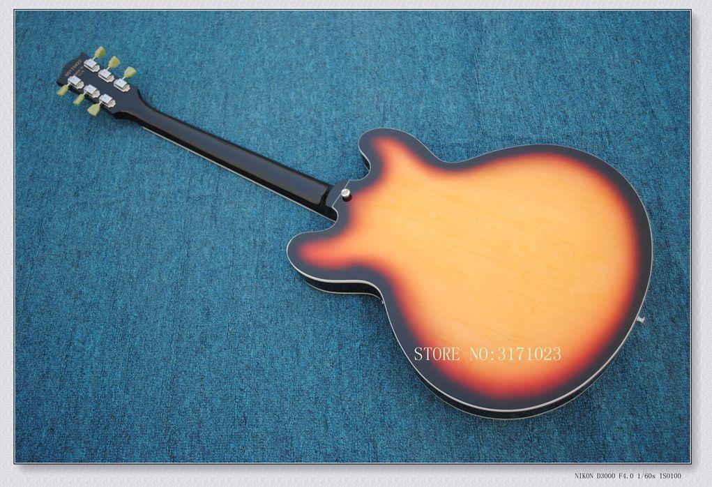 Semi Hollow Sunburst jazz Electric Guitar Chinese guitar