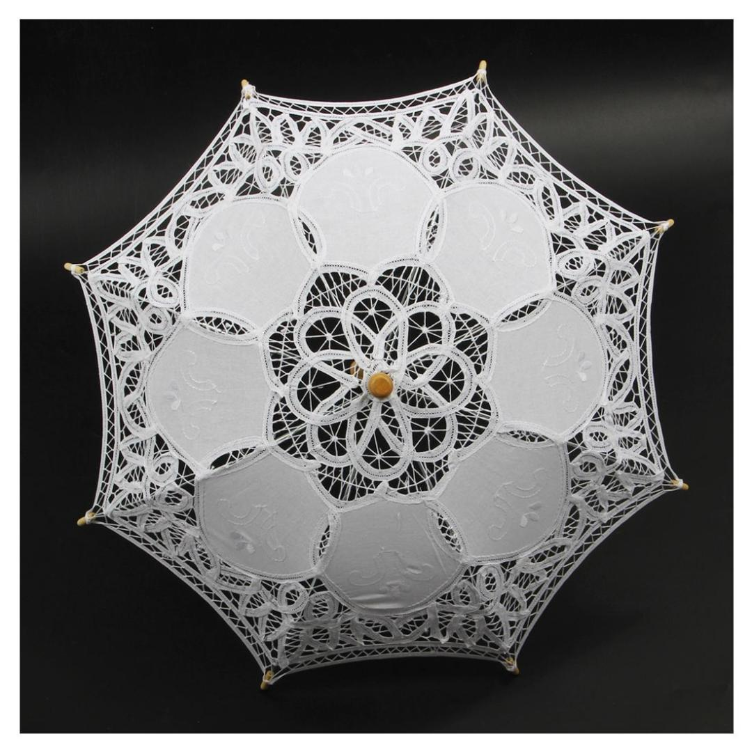 Vendita calda 1X Vintage White Cotton Handmade Parasol Lace Sun Ombrella Wedding Party