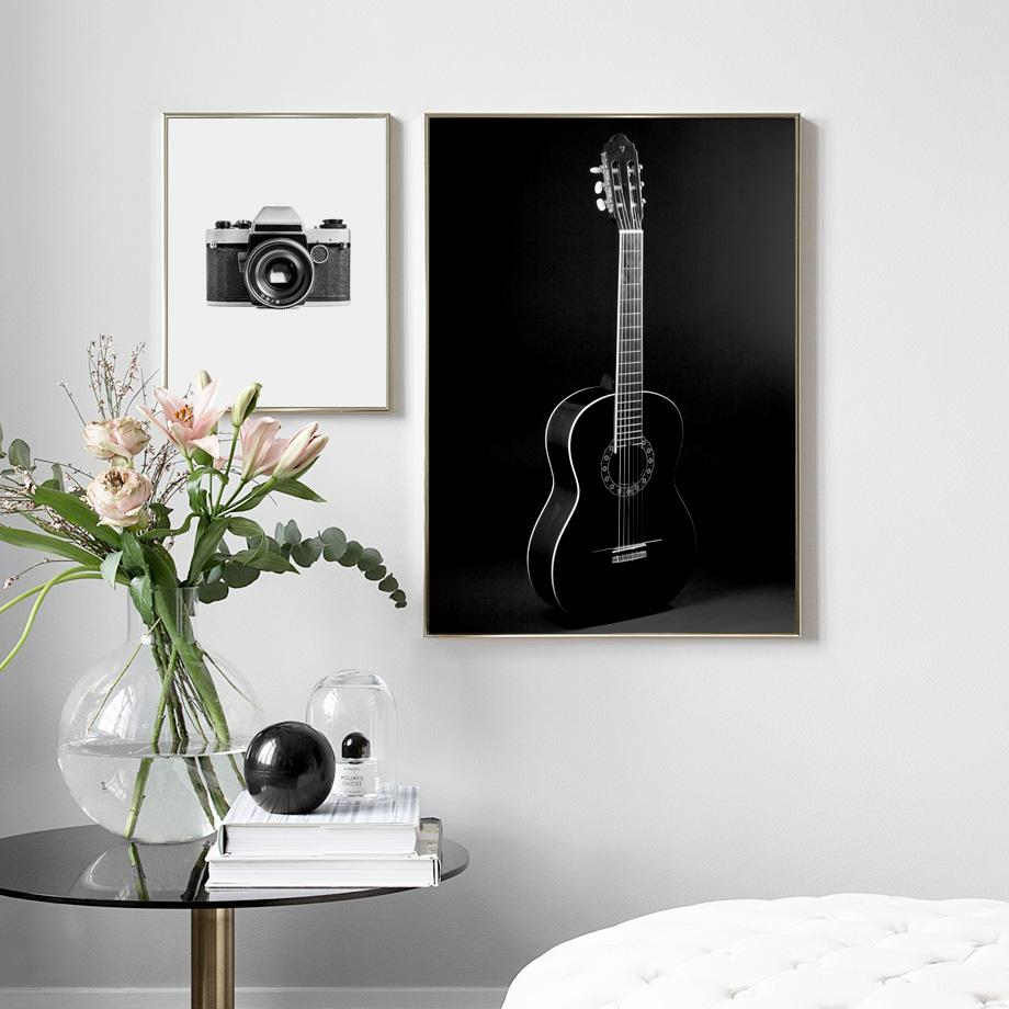 2019 guitar camera black white vintage posters and prints wall art canvas painting nordic wall pictures for living room salon decor from aliceer