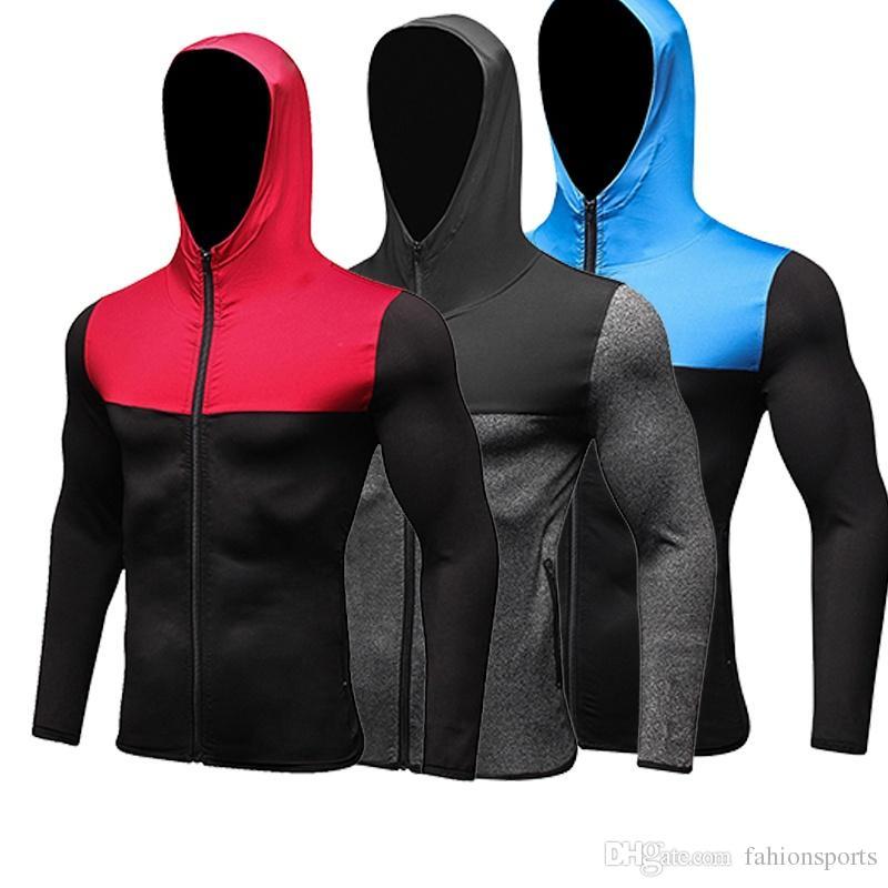 New Hood Felpa da calcio Soccer Compression Fitness Tight Rashgard T-Shirt Gym Bodybuilding Sportswear Men Running Jacket