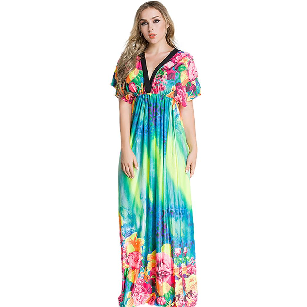 Elegant Women Maxi Dress Floral Print Plunge V Neck Short Sleeve Russian  Long Ice Silk Dress Casual Beachwear Femininos Vestidos Cocktail Dresses  Style ... 2af140f57