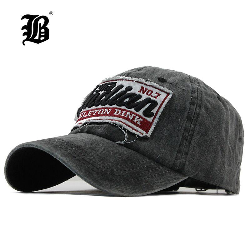 00b4d6851b0c [FLB] Washed Denim mujeres gorra de béisbol papá marca hueso sombreros para  hombres Hip hop Gorras moda bordado Vintage sombrero gorras 2018 F113