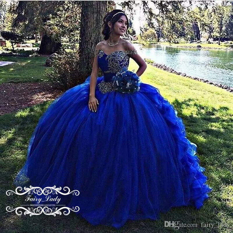 Wedding Dresses 2018 Couture Ball Gowns Elegant Royal: Cinderella Puffy Ball Gown Royal Blue Quinceanera Dresses