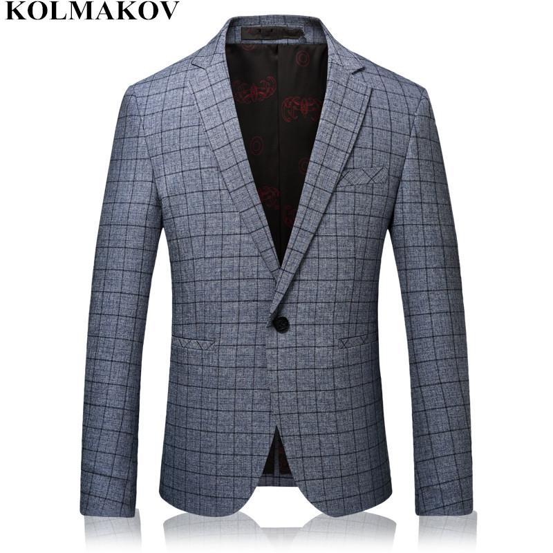 188c0b823fa57 NEW Mens Blazers High-end Grey plaid Blazer Men's coats slim Business  Casual Suits Jackets for Men skinny Plus size M-3XL