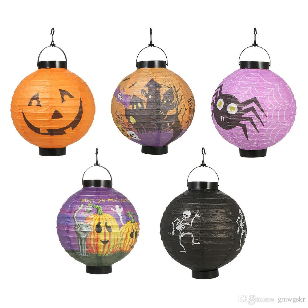 Foldable Halloween Paper Lantern with LED Lights