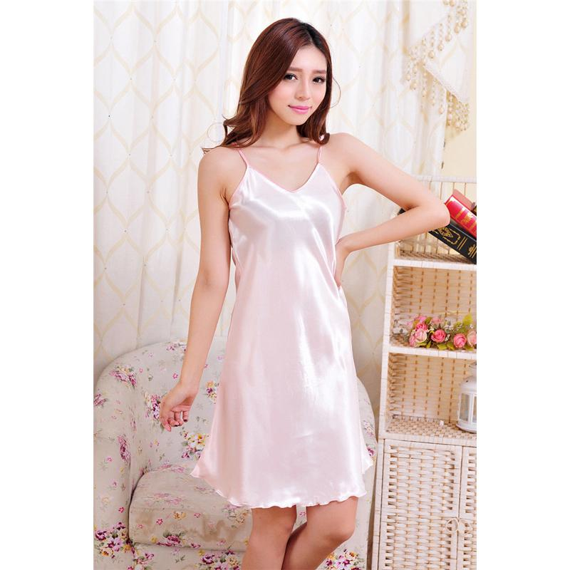2019 HIRIGIN New Soft Plus Size S 2XL Women Sexy Babydolls Satin Silk Nightie  Nightdress Chemise Slip Sleepwear From Bunnier bcaca2b3b